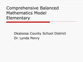 Comprehensive Balanced Mathematics Model Elementary
