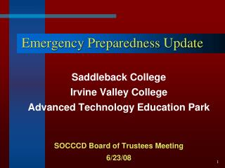 Emergency Preparedness  Update