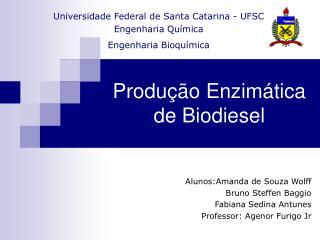 Produ  o Enzim tica de Biodiesel