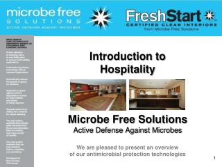 Introduction to Hospitality Microbe Free Solutions Active Defense Against Microbes