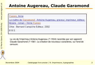 Antoine Augereau, Claude Garamond