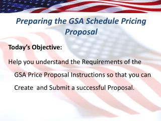 Preparing the GSA Schedule Pricing Proposal