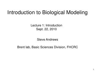 Introduction to Biological Modeling