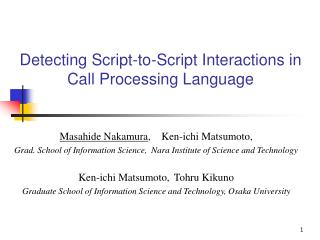 Detecting Script-to-Script Interactions in Call Processing Language