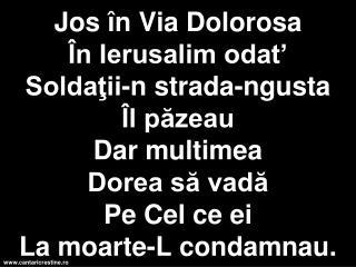 Sus pe lemn El a murit De dragul meu,  De dragul tău. Jos în Via Dolorosa Este drumul de dureri.