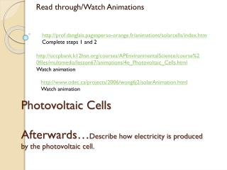 Photovoltaic Cells  Afterwards… Describe how electricity is produced by the photovoltaic cell.