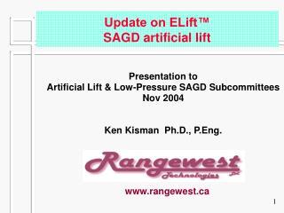 Update on ELift  SAGD artificial lift