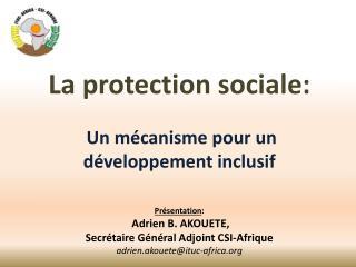 La  protection sociale :  Un mécanisme pour un développement  inclusif