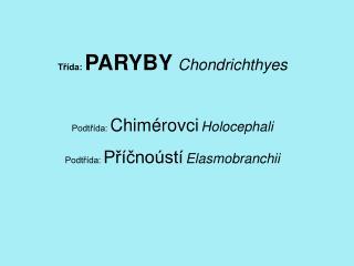 Třída:  PARYBY Chondrichthyes Podtřída:  Chimérovci Holocephali