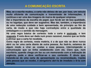 A COMUNICAÇÃO ESCRITA