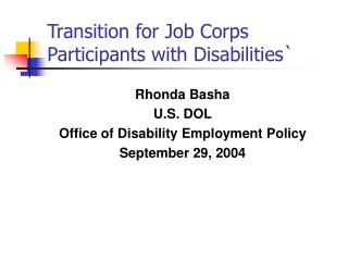 Transition for Job Corps Participants with Disabilities`