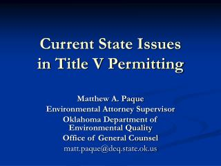 Current State Issues in Title V Permitting