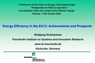 Energy Efficiency in the EU15: Achievements and Prospects