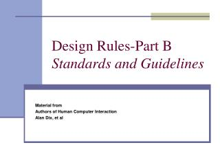 Design Rules-Part B Standards and Guidelines