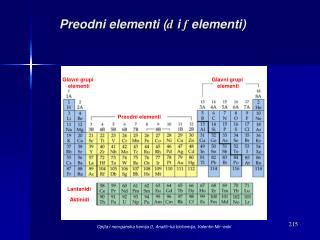 Preodni elementi ( d  i  f  elementi)