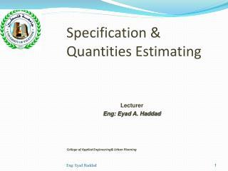 Specification & Quantities Estimating