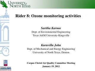 Rider 8: Ozone monitoring activities