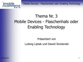 Thema Nr. 3 Mobile Devices - Flaschenhals oder Enabling Technology