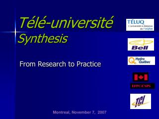 Télé-université Synthesis From Research to Practice