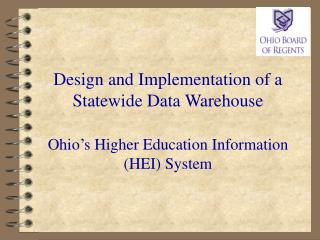 Overview of  State  Higher Education in Ohio