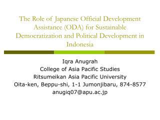 Iqra Anugrah College of Asia Pacific Studies Ritsumeikan Asia Pacific University
