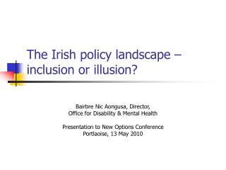 The Irish policy landscape – inclusion or illusion?