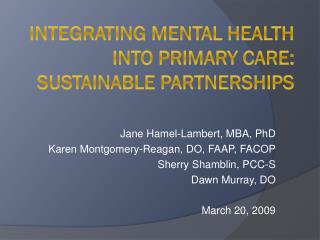 Integrating Mental Health into Primary Care: Sustainable Partnerships