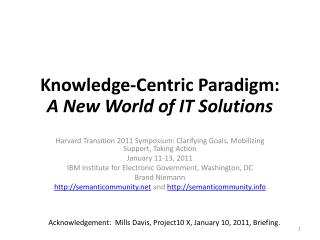 Knowledge-Centric Paradigm: A New World of IT Solutions