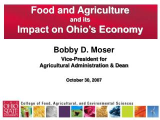 Food and Agriculture  and its Impact on Ohio's Economy