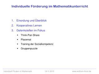Individuelle F rderung im Mathematikunterricht