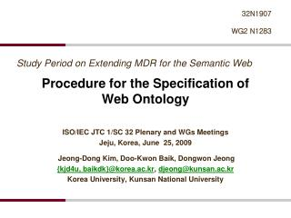Procedure for the Specification of  Web Ontology