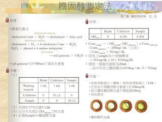 原理:  酵素反應法 cholesterol esterase   cholesterol ester  +  H 2 O → cholesterol  +  fatty acid