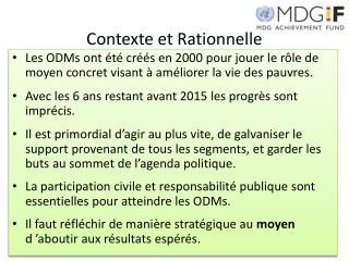Contexte et Rationnelle