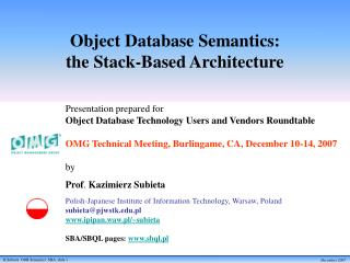 Object Database Semantics:  the Stack-Based Architecture