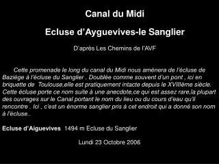 Canal du Midi Ecluse d'Ayguevives-le Sanglier D'après Les Chemins de l'AVF