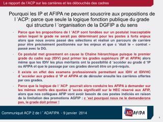 Pourquoi les IP et AFIPA ne peuvent souscrire  aux propositions de l'ACP