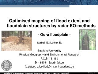 Optimised mapping of flood extent and floodplain structures by radar EO-methods