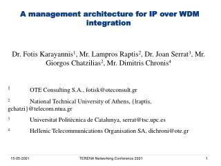 A management architecture for IP over WDM integration
