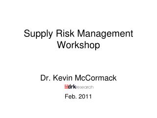 Supply Risk Management Workshop