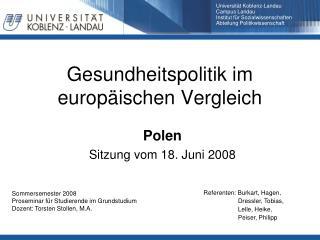 Gesundheitspolitik im europ�ischen Vergleich