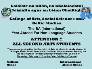 The BA (International)  Year Abroad For Non-Language Students ATTENTION !!