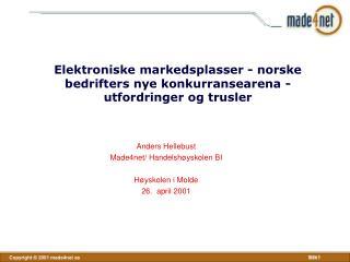 Elektroniske markedsplasser - norske bedrifters nye konkurransearena - utfordringer og trusler