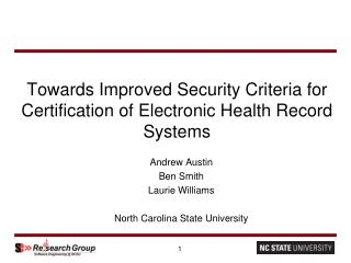 Towards Improved Security Criteria for Certification of Electronic Health Record Systems
