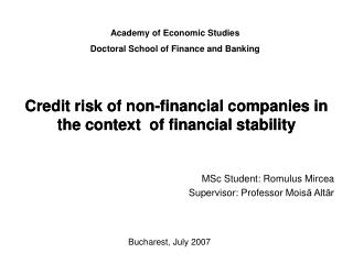 Credit risk of non -financial companies in the context  of financial stability