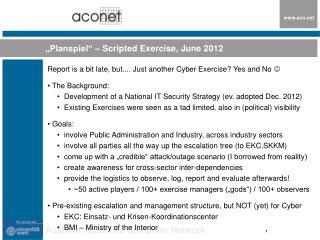 """Planspiel"" – Scripted Exercise, June 2012"