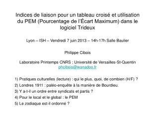 1) Enquête sur les pratiques culturelles des français de 1997