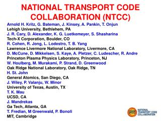 NATIONAL TRANSPORT CODE COLLABORATION NTCC