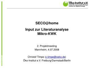 SECO@home Input zur Literaturanalyse Mikro-KWK