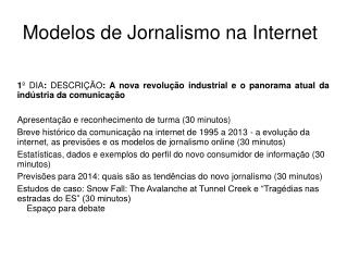 Modelos de Jornalismo na Internet