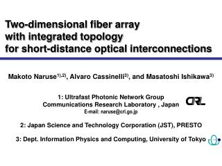 Two-dimensional fiber array  with integrated topology for short-distance optical interconnections